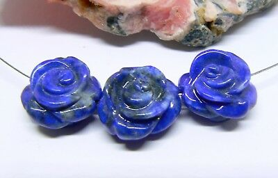 3 RARE NATURAL BLUE LAPIS LAZULI HAND CARVED ROSE FLOWER BEADS AFGHAN 15mm AAA