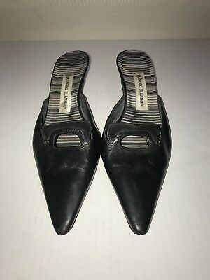 417258b58a Manolo Blahnik Black Leather Kitten Heel Mule/Slide Size 39.5 U.S. 9.5
