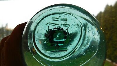 Vintage Japanese Genuine Glass Float W/ Mark On Seal Button  WP #262