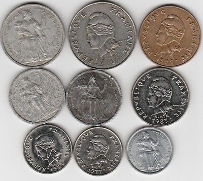 9 different world coins from NEW CALEDONIA