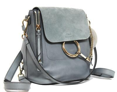b0180604f988 New Chloe Small Faye Cloudy Blue Leather   Suede Backpack Bag