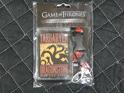 Games of Thrones House Sigil Lanyard: Targaryen Dragonstone, Fire & Blood (NEW)