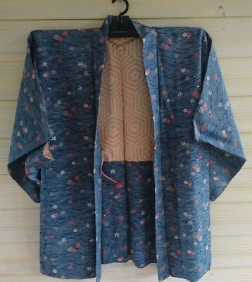 Fab Blue Floral Patterned Vintage Japanese Silk Haori (Kimono Jacket)