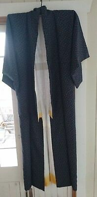 Fab Dark Blue Patterned Vintage Japanese Full Length Kimono