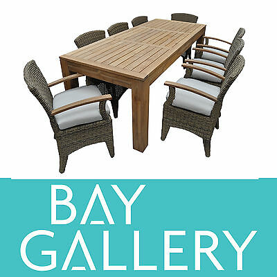 New Large Outdoor Teak Dining Table & Wicker Chairs Set Suite Furniture Setting