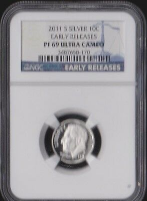 2011-S Roosevelt Silver Proof Dime 10C Ngc Pf69 Ultra Cameo Early Releases