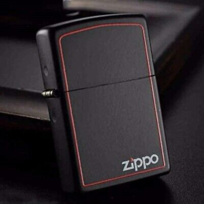 Black Matte With Red Boarder 218ZB Zippo Lighter - AU Shipping