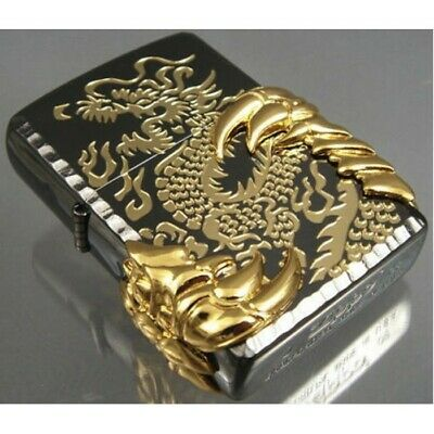 Black Ice Japanese Gold Dragon Claw -08 Zippo Lighter - AU Shipping
