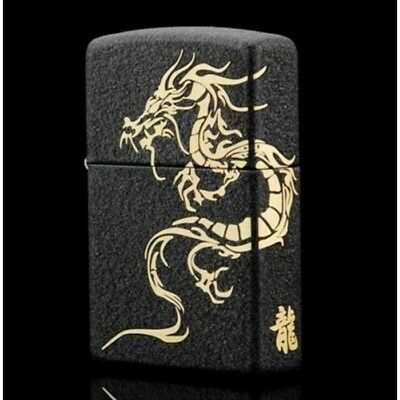 Japanese Black Matte with Gold Dragon Zippo Lighter - AU STOCK