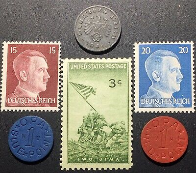 WW2 Coin/Stamp, OPA Blue Point Ration 1 Reichspfennig , US, Germany lot WWII