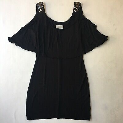 T By Bettino Liano Cold Shoulder Dress Embellished Shoulders Sz 12 FLAW