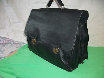 GRAND CARTABLE ANCIEN SAVEBAG VINTAGE CUIR  3 SOUFFLETS  41x36x23cm