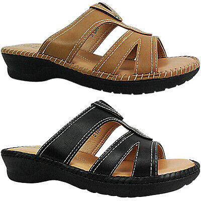 Womens Ladies Low Wedge Heel Comfort Cushioned Slip Ons Mules Sandals Shoes Size