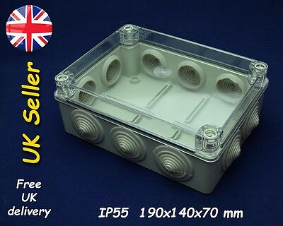 Junction box weatherproof enclosure 190x140x70mm IP55, transparent lid, grommets