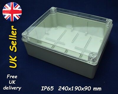 PVC junction box, weatherproof enclosure 240x190x90mm IP65 Grey, transparent lid