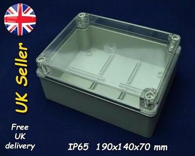 PVC junction box, weatherproof enclosure 190x140x70mm IP65, Grey transparent lid