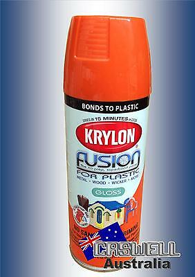 Krylon Fusion Plastic Paint 340gm - Pumpkin Safety Orange Gloss - AUS Seller