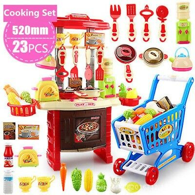 23Pcs Kids Kitchen Play set  Children Pretend Cooking Toy Home Cookware Food