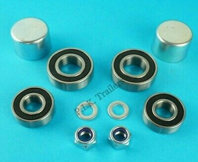 1 Axle Wheel Bearing Kit with Dust Caps Washers & Nuts Erde Trailer 101 102 #125