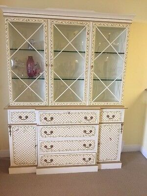 Superb Hand Painted Antique Style Vintage Bookcase or Display Breakfront, Desk
