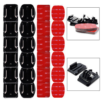 12 pcs Helmet Accessories Flat Curved Adhesive Mount for Gopro Hero 3 3+ 4 OS180