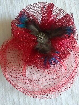 Fascinator hat red peacock feathers special occasions parties hair accessory