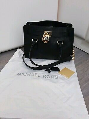1732a38e2001 Michael Kors Hamilton Gold Saffiano Tote Bag Black With Dust Bag authentic