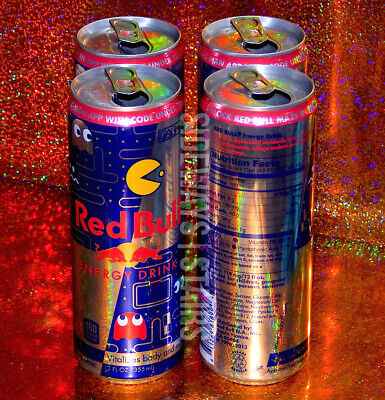 PAC-MAN RED BULL CAN W/ MAZE CODE 4 Empty Cans collectible classic video game