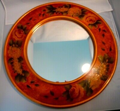 Mirror Round Hand Painted Floral 23 inches Round Gold with Pink Roses
