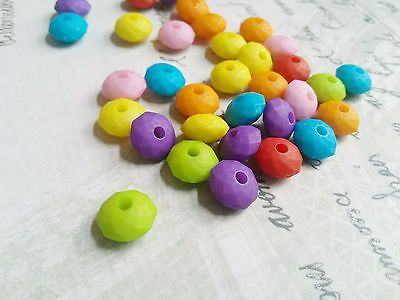 50 Acrylic Beads Rondelle Faceted Beads Assorted Lot Rainbow Colors 10mm BULK