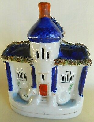 ANTIQUE 19TH CENTURY HANDPAINTED STAFFORDSHIRE POTTERY COTTAGE ~ attractive item