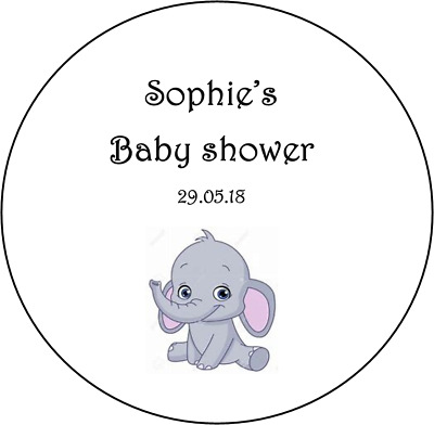 48 personalised baby shower stickers labels favours girl boy elephant round new