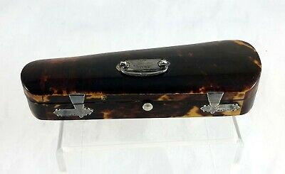 Victorian Tortoise Shell And Silver Cheroot / Cigar Holder / Case *violin Case*