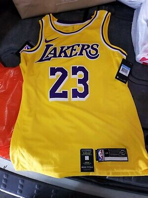 f7be7448e NIKE LeBron James LA Los Angeles Lakers Jersey Yellow AA7099-741 NEW  Authentic