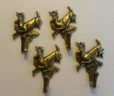 4 Vintage Solid Brass Deer Buck With Antlers Hooks Coat Hooks With Screws (1Eb)