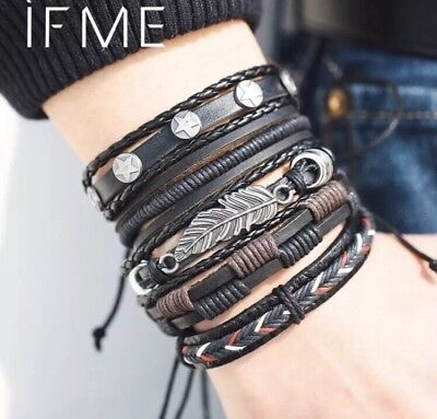 Mens Leather Bracelet Wristband Braided Rope Wrap Brown AU Seller NEW