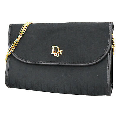 Christian Dior Trotter Chain Shoulder Hand Bag Black Nylon Canvas Auth   Q977 Z d44b316c63d6d