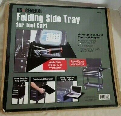 US General Folding Side Tray for Tool Cart Holds Up To 35 lbs Black