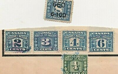 Canada Excise Tax Revenue 1915-29 Two & 3 Leaf Collection Inverted stamp