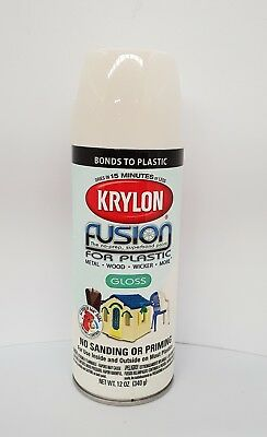 Krylon Fusion Plastic Paint 340gm - Dover White Gloss - AUS Seller