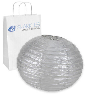 """14"""" inch Chinese Paper Lantern - Silver - Wedding Party Event Decoration wf"""