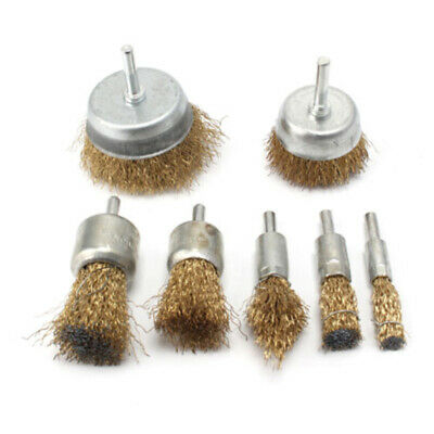 7Pc/Set Drill Wire Brush Wheel Cup Metal Cleaning Rust Remover Sanding Kit Lot