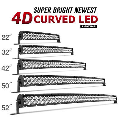 Curved LED Light Bar 52/50/42/32/22inch Driving Truck SUV Boat Offroad 700W/672W