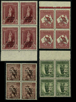 25% OFF! 1946 BCOF Japan Complete Set ½d to 5/- MUH **BLOCKS OF 4**SG J1-7 D34