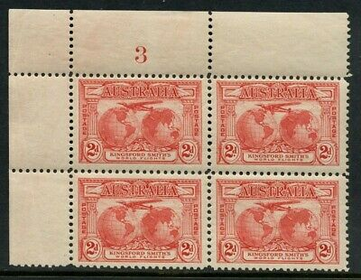 50% OFF! 1931 Kingsford Smith's Flights 2d Red *PLATE NUMBER BLOCK* MH SG 121 6C