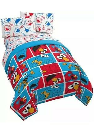 Sesame Street Elmo Cookie Monster 3PC Twin Sheet Set *New*