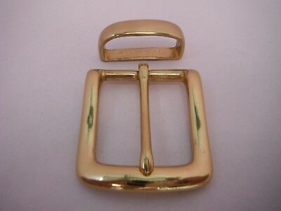 Solid Brass Buckle Plus Keeper  For 33 Mm To 35 Mm Belts Quality Polished Brass