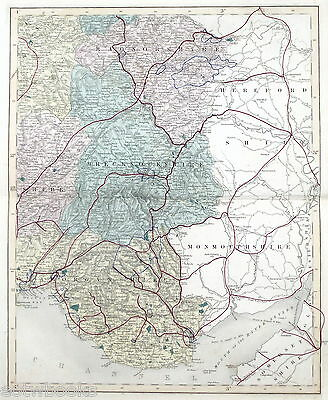 SOUTH-EAST WALES , 1869 - Original Hand-coloured Antique County Map -  WALKER