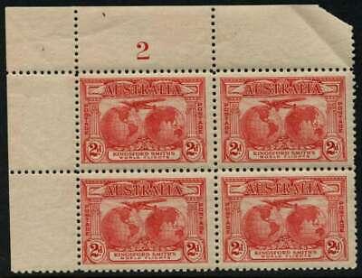 50% OFF! 1931 Kingsford Smith's Flights 2d Red MH **PLATE NUMBER BLOCK** SG 121