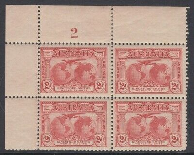 50% OFF! 1931 Kingsford Smith 2d *PLATE NO. BLOCK* MH SG 121 D3C